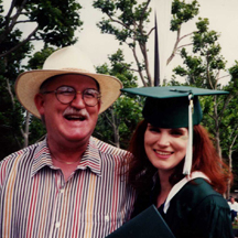 Heather Davis with her father at her college graduation